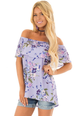 Violet Floral Off the Shoulder Top with Ruffle Detail front close up