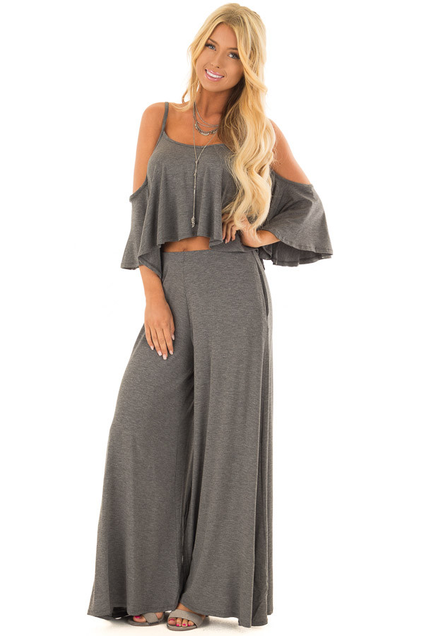 Charcoal Cold Shoulder Two Piece Set front full body