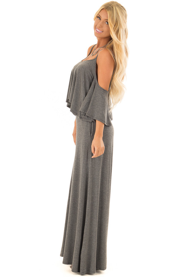 Charcoal Cold Shoulder Two Piece Set side full body