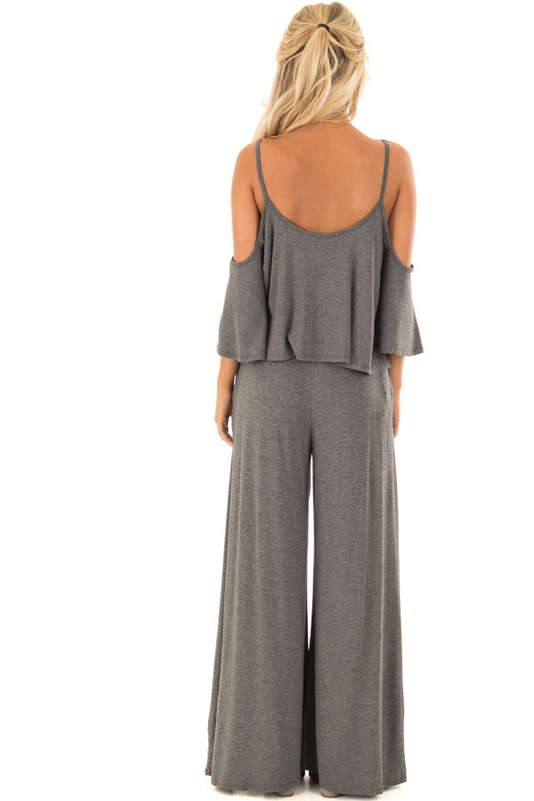 Charcoal Cold Shoulder Two Piece Set back full body