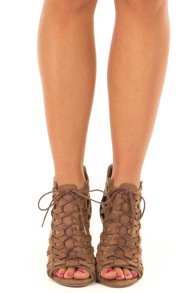 Tan Detailed Lace Up Open Toe High Heels front view