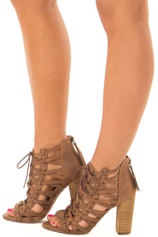 Tan Detailed Lace Up Open Toe High Heels side view