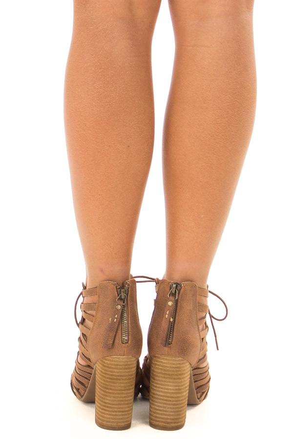 Tan Detailed Lace Up Open Toe High Heels back view
