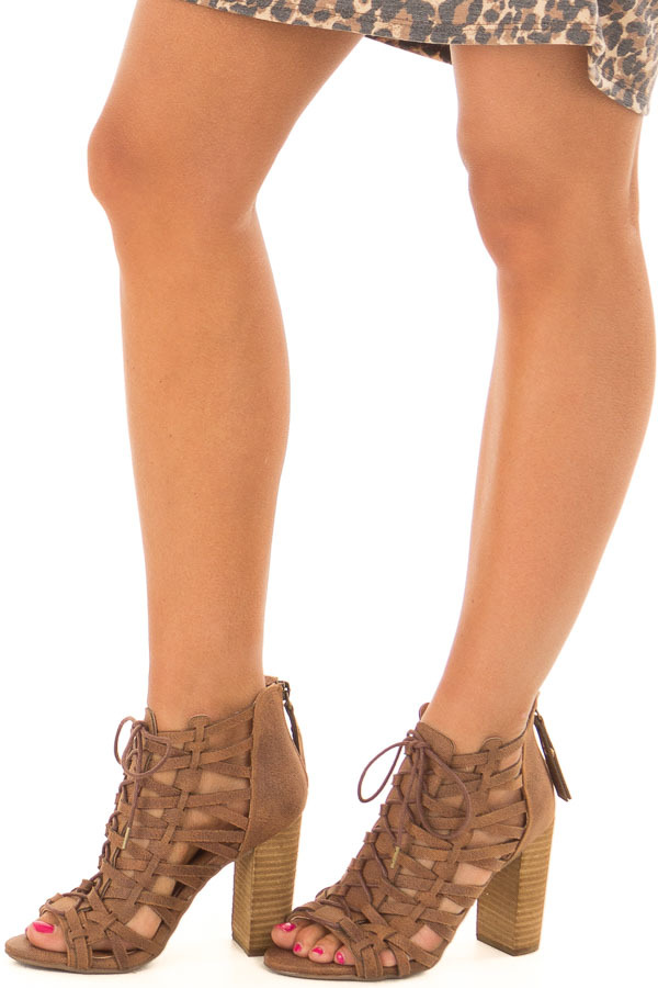Tan Detailed Lace Up Open Toe High Heels front side view