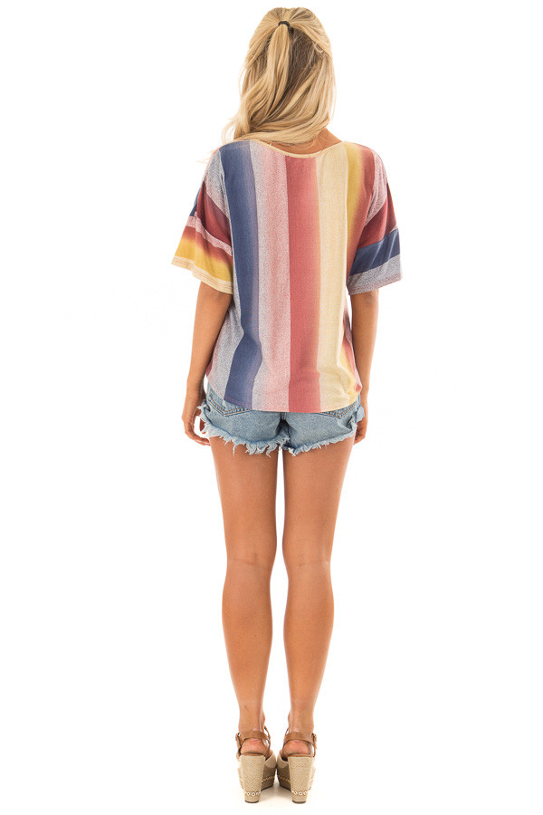 Multicolor Striped Dolman Sleeve Top with Tie Detail back full body
