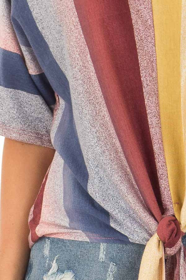 Multicolor Striped Dolman Sleeve Top with Tie Detail detail