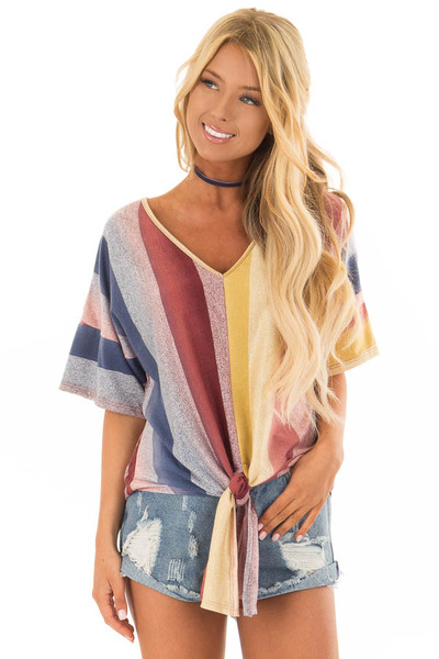 Multicolor Striped Dolman Sleeve Top with Tie Detail front close up