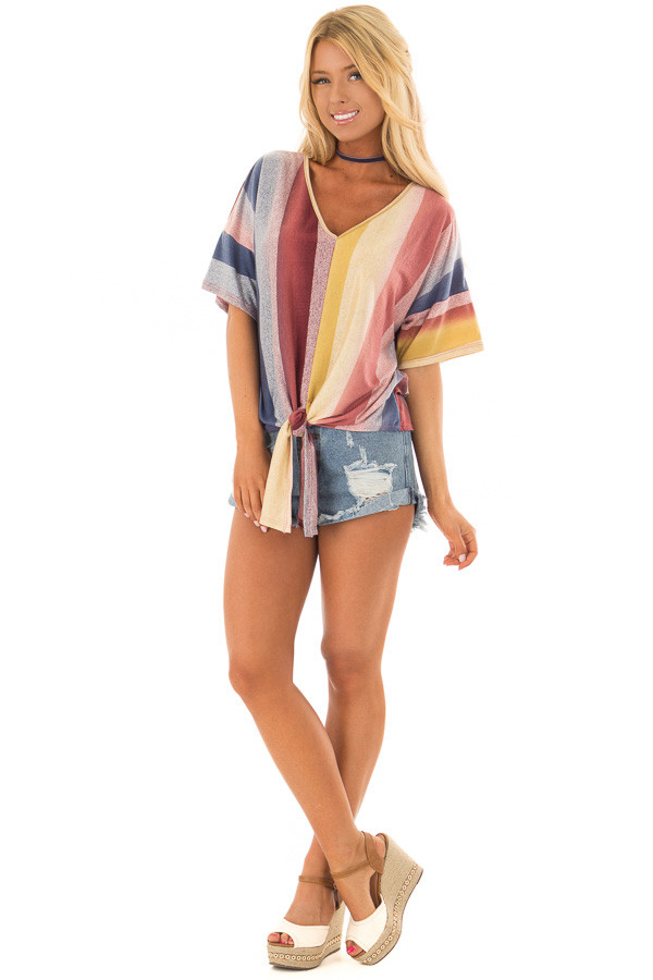 Multicolor Striped Dolman Sleeve Top with Tie Detail front full body