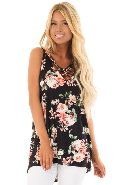 Black Floral Sleeveless V Neck Top with Criss Cross Detail front close up