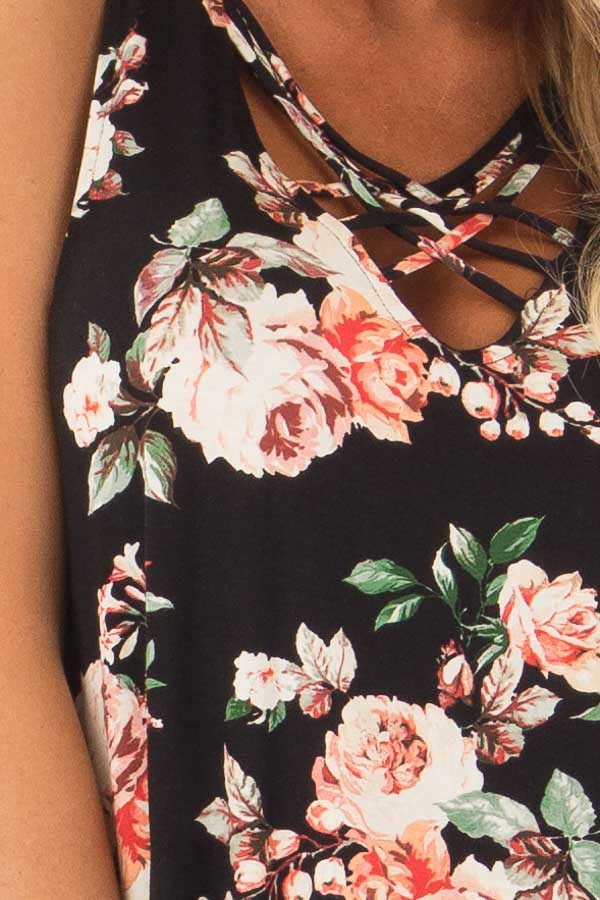 Black Floral Sleeveless V Neck Top with Criss Cross Detail detail