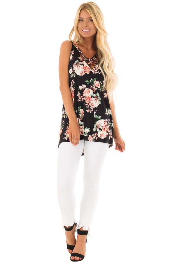 Black Floral Sleeveless V Neck Top with Criss Cross Detail front full body
