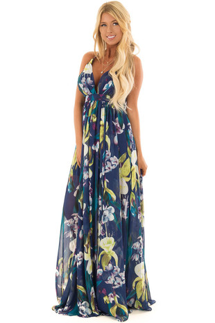 Navy Tropical Print Open Back Maxi Dress front full body