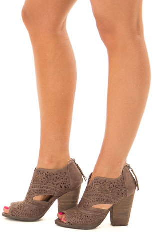 Deep Taupe Peep Toe Booties with Cut Out Details side view