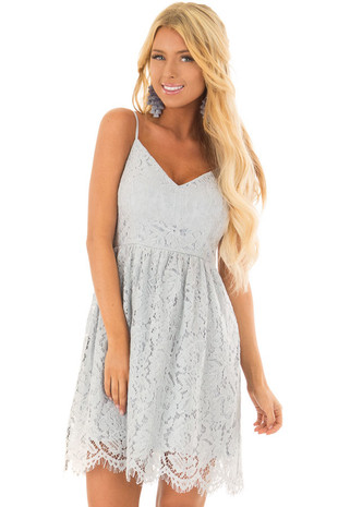 Dusty Blue Lace Sleeveless Dress with V Neckline front close up
