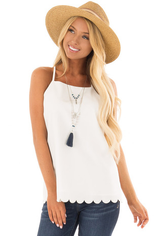 Off White Halter Tank Top with Keyhole and Scalloped Detail front close up