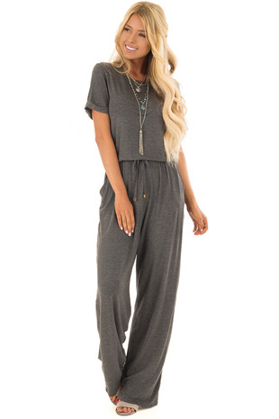 Charcoal Short Sleeve Jumpsuit with Pockets and Waist Tie front full body