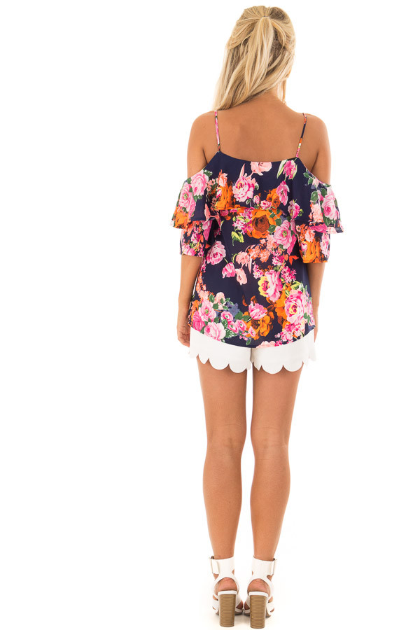 Navy Floral Cold Shoulder Short Sleeve Top with Ruffle back full body