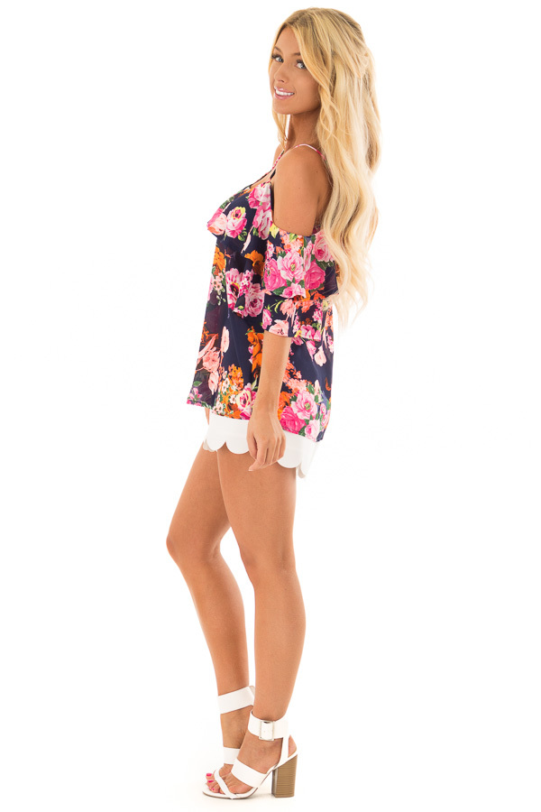 Navy Floral Cold Shoulder Short Sleeve Top with Ruffle side full body