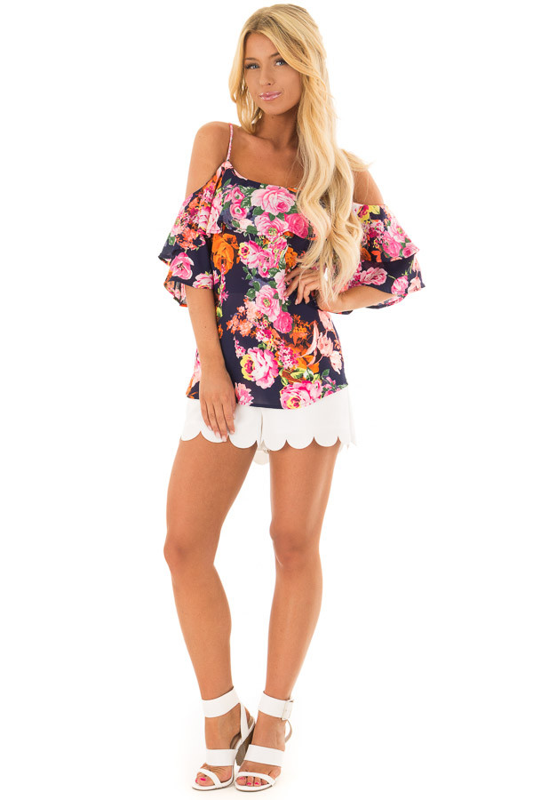Navy Floral Cold Shoulder Short Sleeve Top with Ruffle front full body