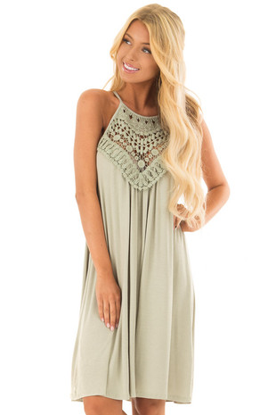 Sage Dress with Lace Front Detail front close up