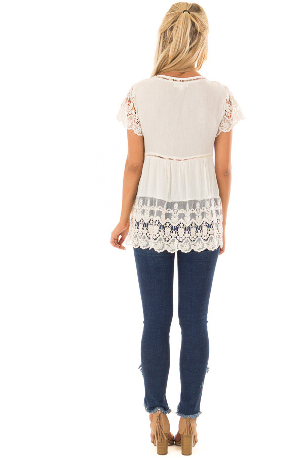Cream Short Sleeve Top With Sheer Lace Detail back full body