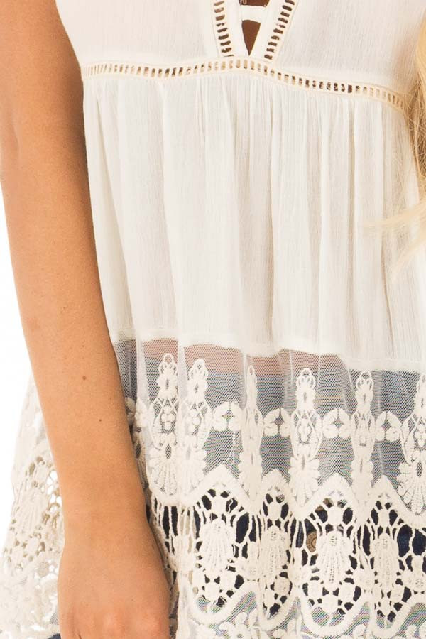 Cream Short Sleeve Top With Sheer Lace Detail detail
