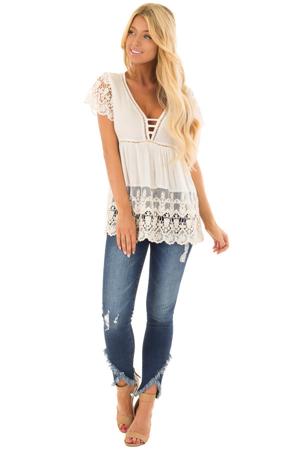 Cream Short Sleeve Top With Sheer Lace Detail front full body