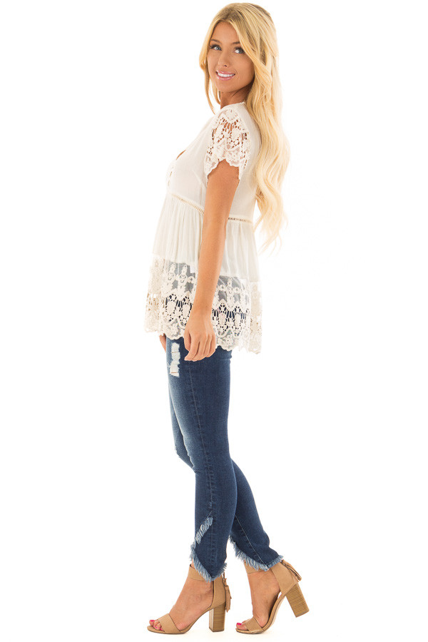 Cream Short Sleeve Top With Sheer Lace Detail side full body