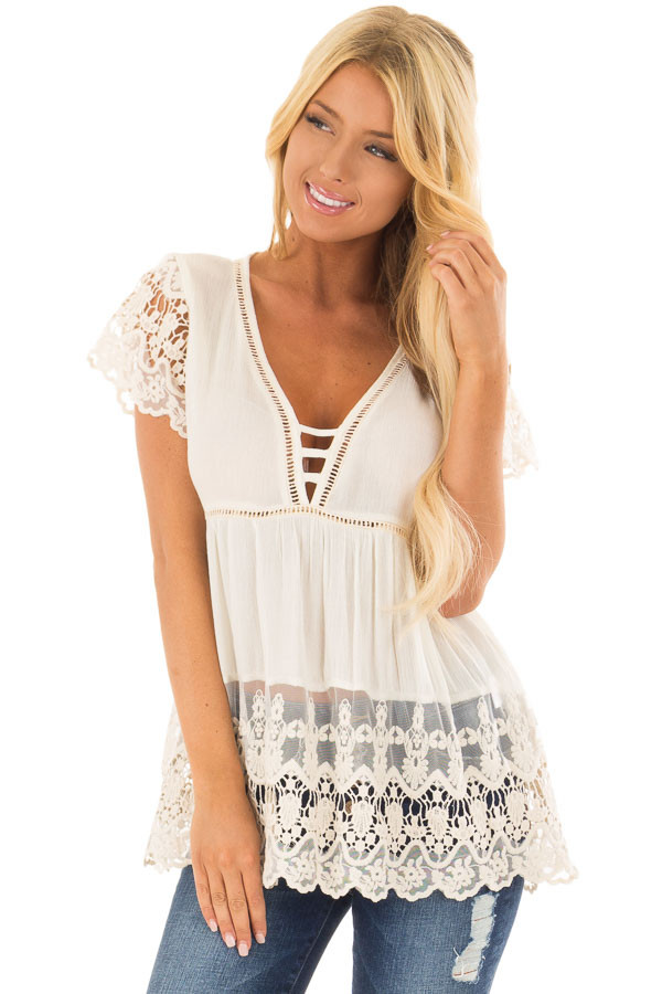 Cream Short Sleeve Top With Sheer Lace Detail front close up