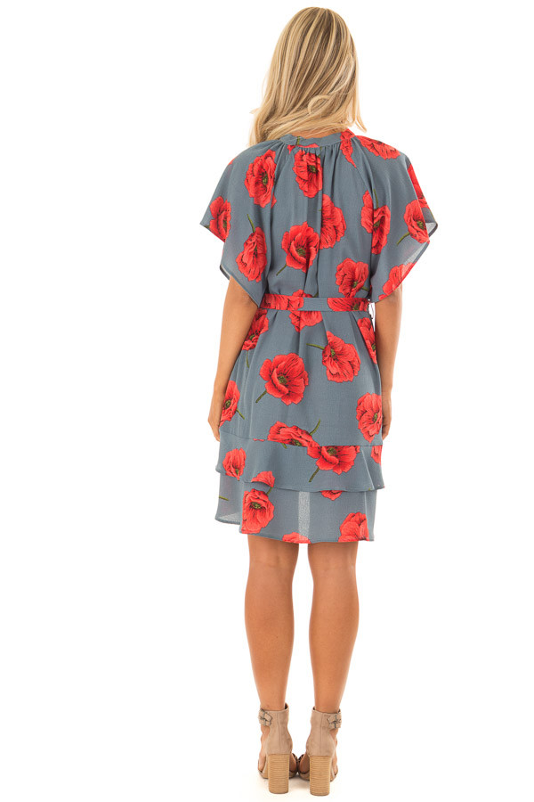Charcoal Poppy Floral Short Sleeve Dress back full body