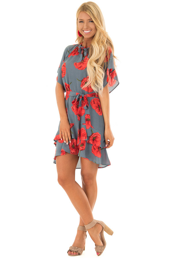 Charcoal Poppy Floral Short Sleeve Dress front full body