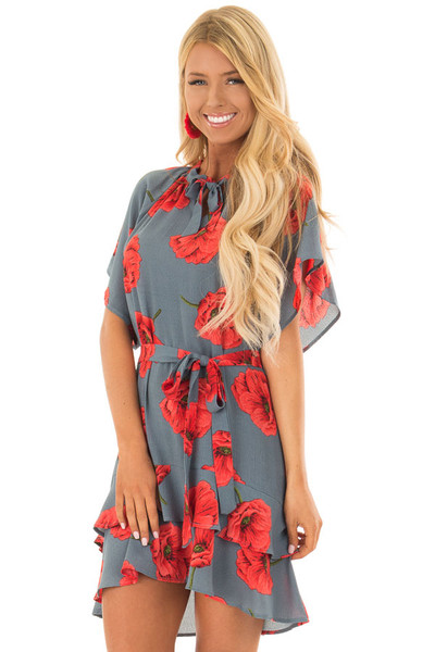 Charcoal Poppy Floral Short Sleeve Dress front close up