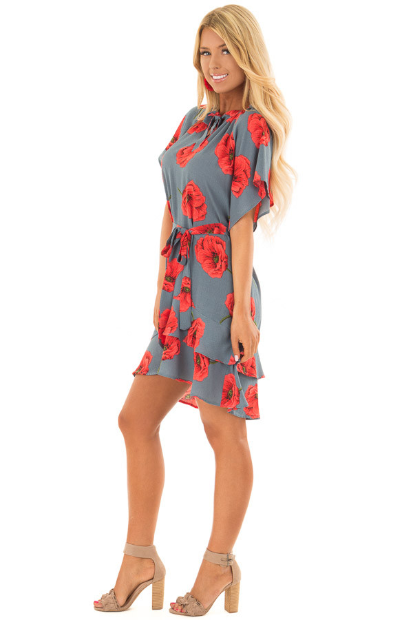 Charcoal Poppy Floral Short Sleeve Dress side full body