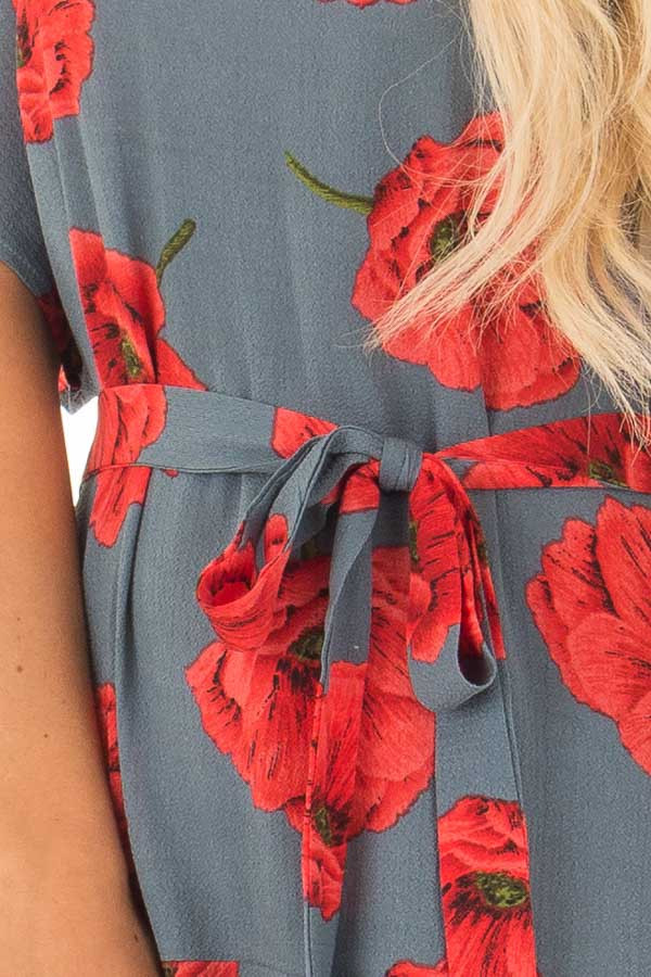 Charcoal Poppy Floral Short Sleeve Dress detail