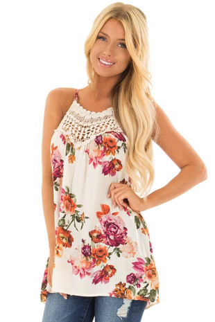 Ivory Floral Print Halter Tank Top with Crochet Detail front close up