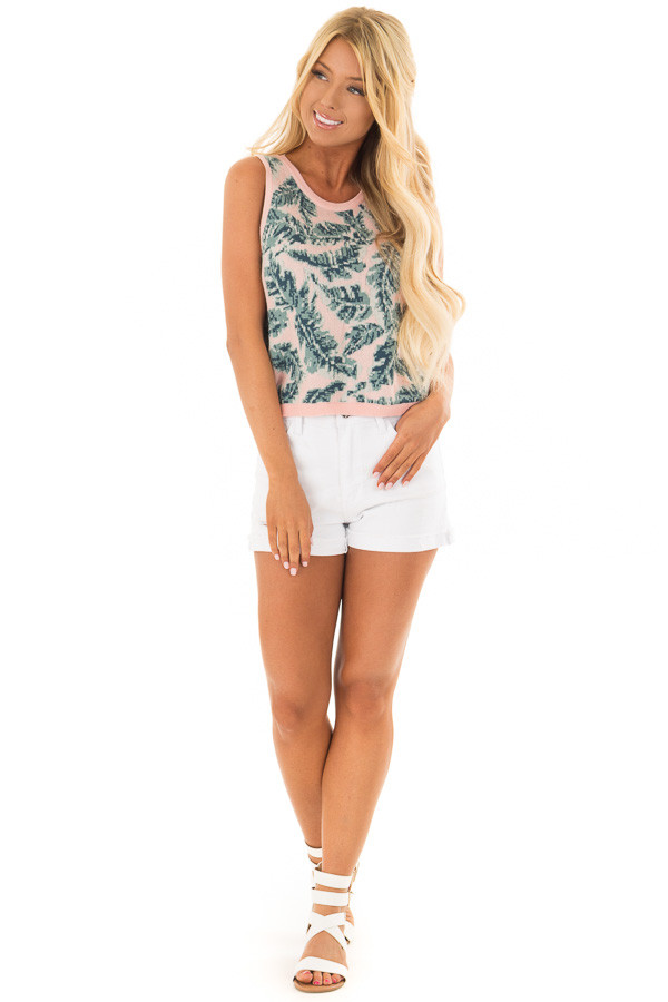 Blush Tropical Leaf Print Thick Knit Tank Top front full body