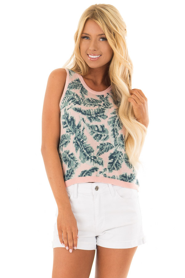 Blush Tropical Leaf Print Thick Knit Tank Top front close up