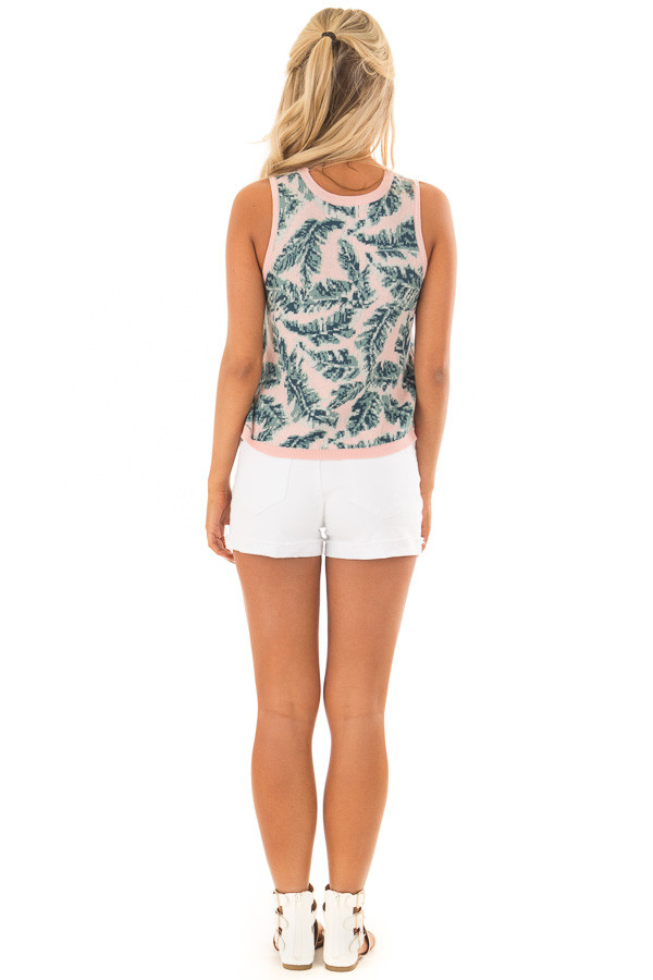 Blush Tropical Leaf Print Thick Knit Tank Top back full body