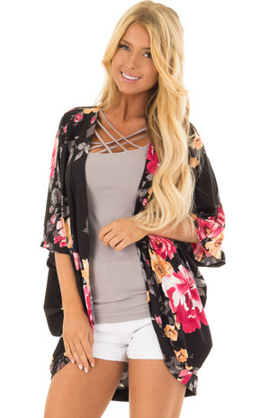 Black Floral Print Kimono with Rounded Hemline front close up