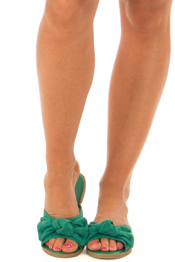 Kelly Green Faux Suede Slip On Sandal with Bow Detail front view