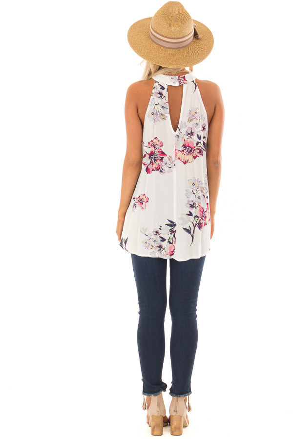 Ivory Floral Print High Neck Tank Top back full body