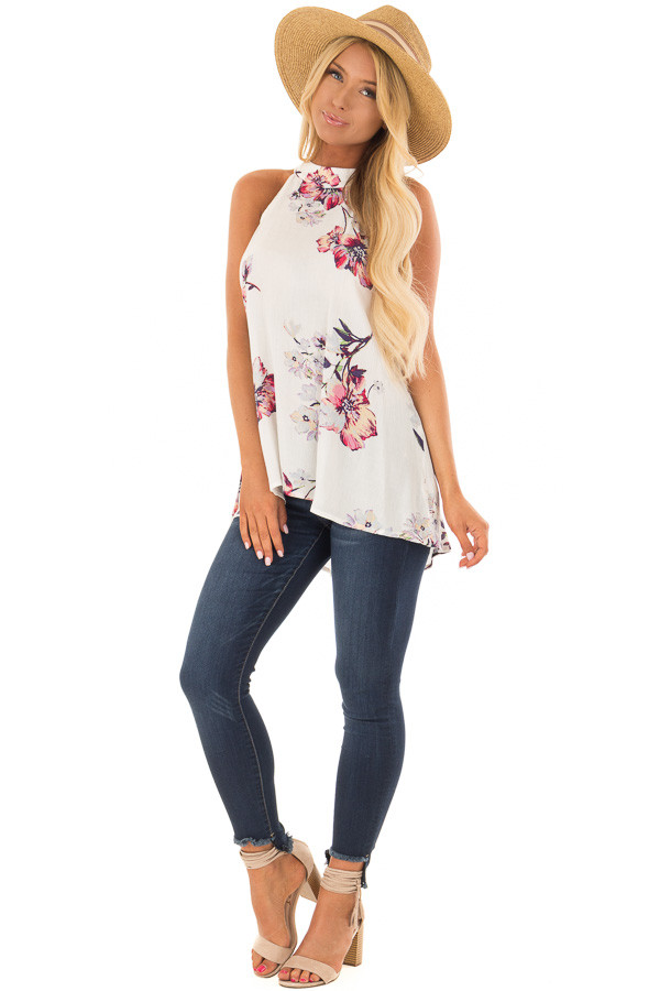 Ivory Floral Print High Neck Tank Top front full body