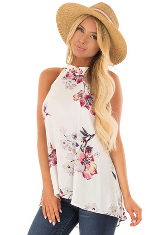 Ivory Floral Print High Neck Tank Top front close up