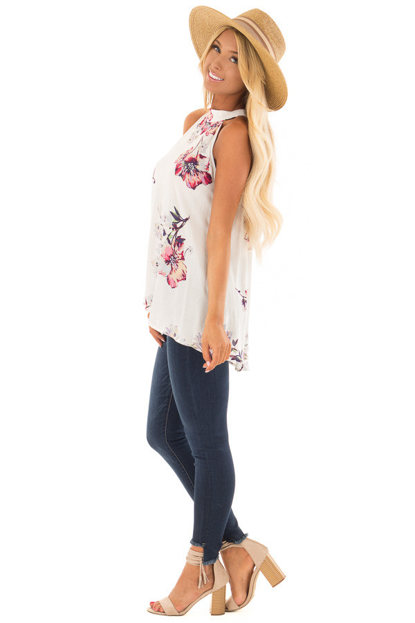 Ivory Floral Print High Neck Tank Top side full body