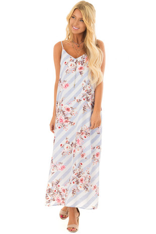 Denim Blue Striped Floral Print Dress with Cut Out Back front full body