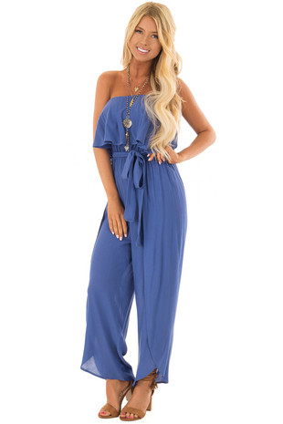 Cobalt Blue Strapless Waist Tie Jumpsuit front full body
