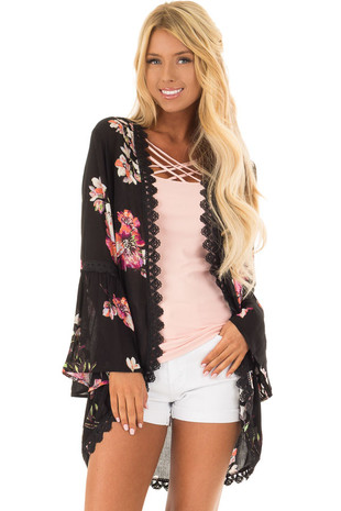 Black Floral Print Cardigan with Bell Sleeves front close up