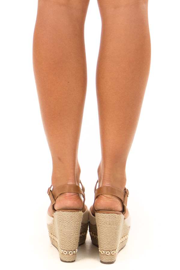 Beige and Tan Wedge with Bedazzled Trim back view