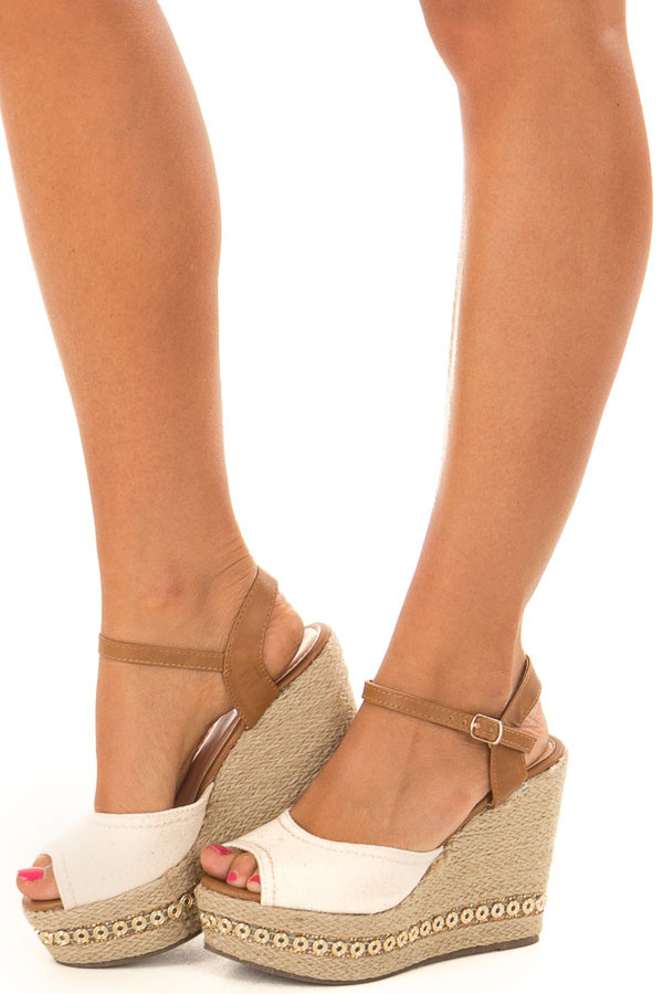Beige and Tan Wedge with Bedazzled Trim front side view
