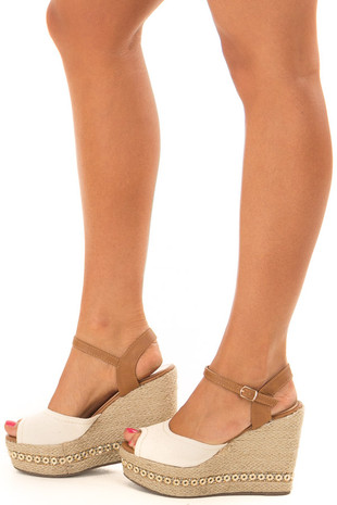 Beige and Tan Wedge with Bedazzled Trim side view